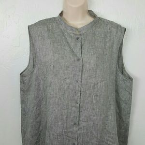 Lafayette 148 New York linen gray top button up